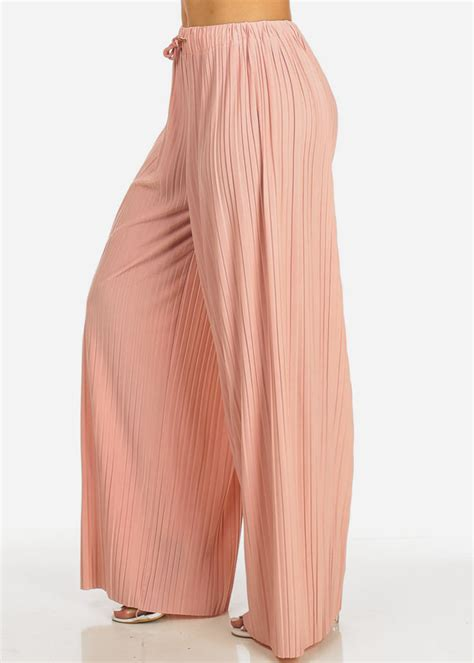 Silk Soft High Waisted Chiffon Wide Leg Flowy Loose Pants (Pink) in Pants