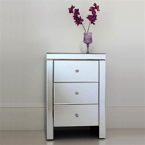 narrow mirror three drawer mirrored bedside table by out there interiors