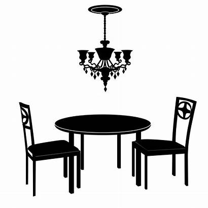 Table Vector Chairs Chandelier Furniture Silhouette Dining