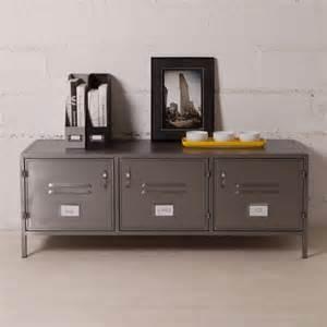 buffet bas et large en m 233 tal gris 3 portes casiers style indus decoclico factory ventes pas