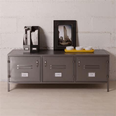 meuble metallique pas cher buffet bas et large en m 233 tal gris 3 portes casiers style indus decoclico factory ventes pas