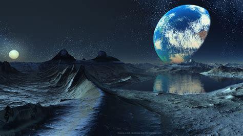 space dawn planets moon fantasy art artwork wallpaper