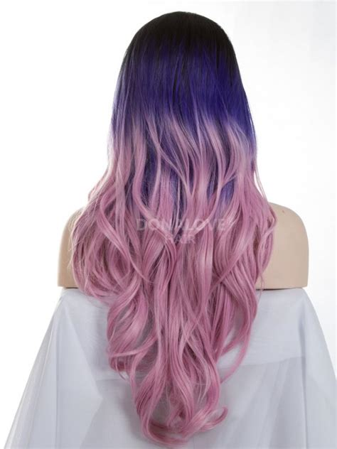 Dark Purple To Pink Waist Length Wavy Snythetic Lace Wig