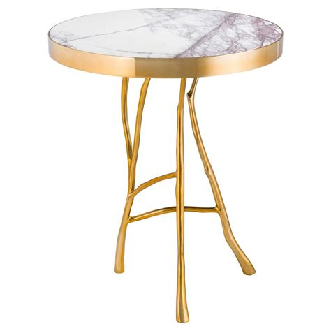 round marble top side table eichholtz veritas hollywood regency white marble top round
