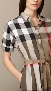 burberry tiewaist check shirt dress in brown pale With robe burberry fille