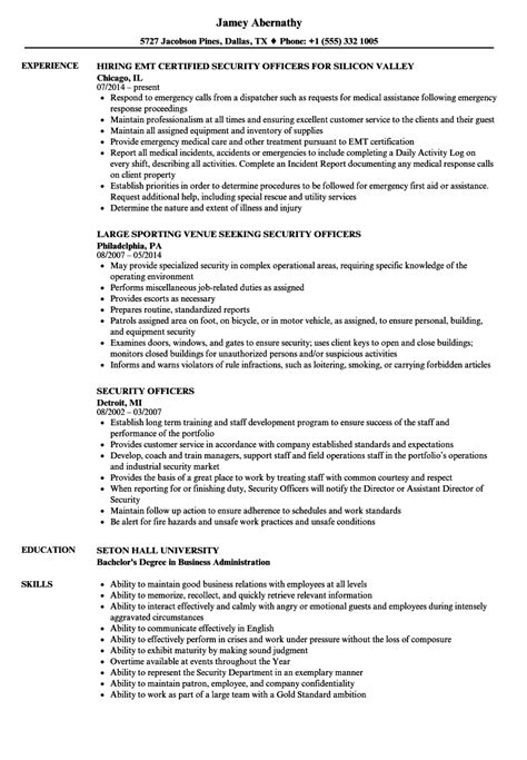 Security Resume by 10 Sle Resumes Security Guard Payment Format