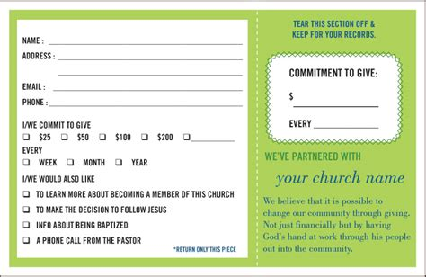 pledge card template pledge and welcome cards one write company