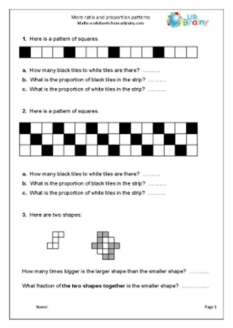 more ratio patterns ratio and proportion maths worksheets