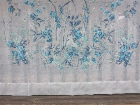 FOUR Vintage Sheer Blue, Grey, and White Floral Curtain