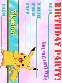 free pikachu party invitation
