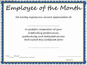 Employee Certificate Templates Free Interesting Certificate Template Example For Employee Of The Month With Blue Frame And Informal