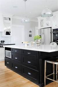 black kitchen island Black KItchen Island with Black Cup Pull Hardware - Transitional - Kitchen