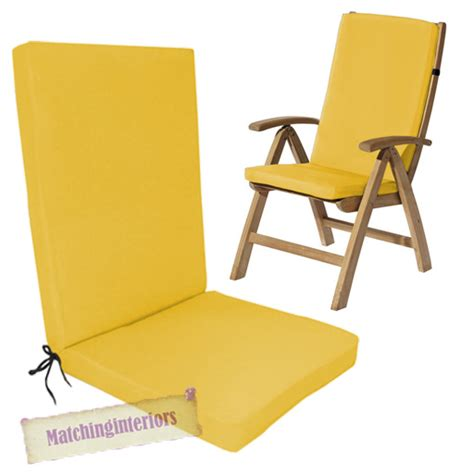 yellow water resistant highback garden dining chair back