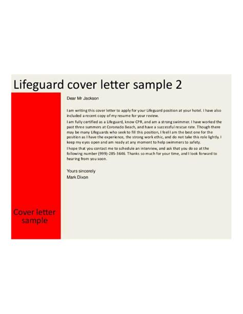 hotel lifeguard cover letter sles and templates