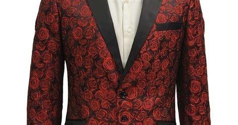 angelino mens red black rose print tuxedo  bttn formal