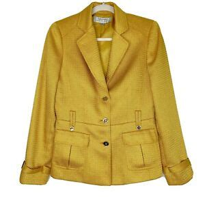 tahari womens gold mustard blazer jacket career business
