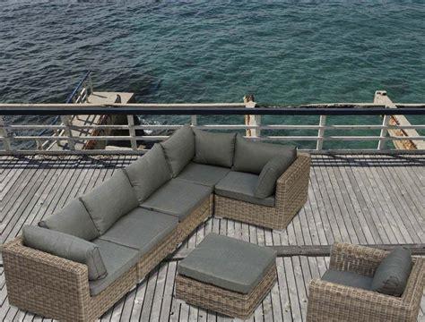 Salon de jardin outdoor VENISE style rotin en rsine tresse naturel canap du0026#39;angle + fauteuil