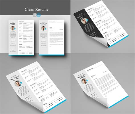 resume  cover letter psd template  psd