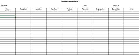 fixed asset register definition   excel