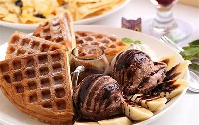 Waffle Hungry Cream Ice Chocolate Desserts Wallpapers