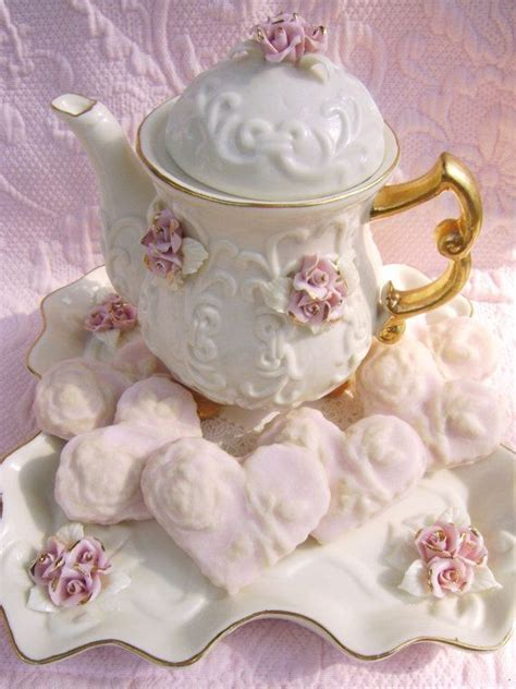 pretty teapot  pink heart shaped sugar rose cookies