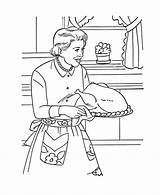 Coloring Pages Thanksgiving Feast Dinner Cooking Sheets Printables Grandmother Mom Holiday Turkey Bible Harvest Colouring Blessings Printable Meal Popular sketch template