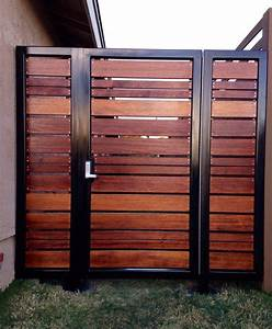 Metal fence gate wood combined decor references for Kitchen cabinet trends 2018 combined with wall art outdoor metal