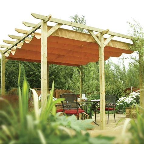 ft    retractable  post wooden  standing garden pergola