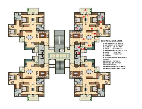 2 3 bhk flats in 3 bhk apartment cluster tower layout plan n design