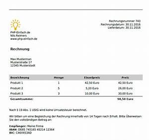 Rechnung Per E Mail : pdf per php erstellen pdf rechnung php lernen ~ Themetempest.com Abrechnung