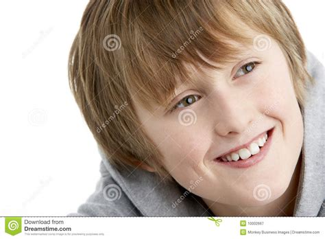 Portrait Of Smiling 10 Year Old Boy Stock Image - Image of ...