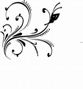 Black And White Floral Design With Butterfly Clip Art at ...