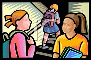 Kids in a School Hallway - Royalty Free Clip Art Image