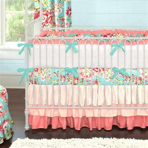 Coral And Teal Floral Baby Crib Bedding  Crib, Ombre And Teal