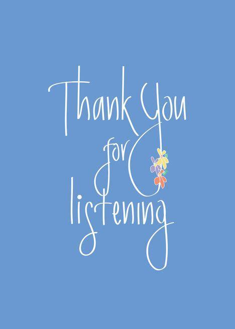 hand lettered    listening  blue