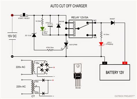 outbox project membuat charger aki otomatis auto cut charger circuit