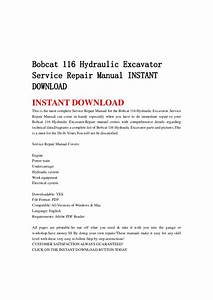 Bobcat 116 Hydraulic Excavator Service Repair Manual