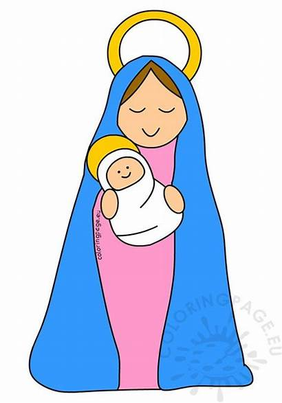 Jesus Mary Clipart Mother Coloring Christmas Graphic