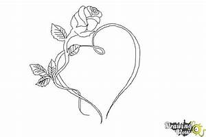 How to Draw a Rose With a Heart - DrawingNow
