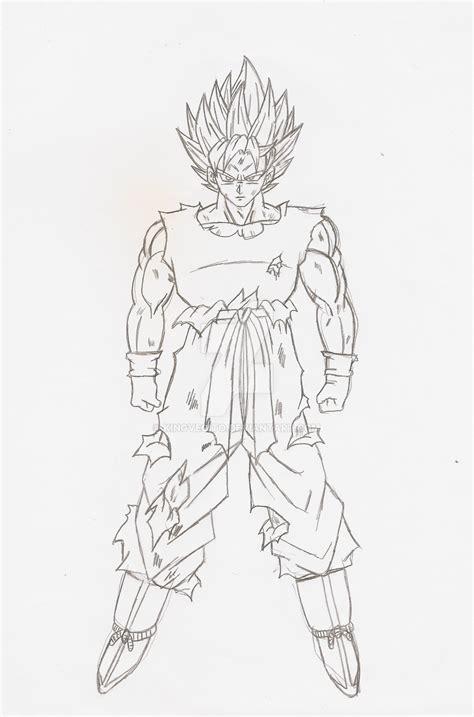 goku full body ssj lineart sketch  kingvegito  deviantart