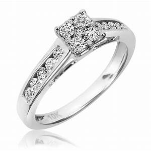 1 2 carat tw diamond ladies39 engagement ring 14k white With white gold wedding ring with diamonds