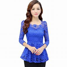 Women Tops And Blouses 2016 New Fashion Long Sleeve Plus Size Lace Blouse Pleated Crochet Peplum