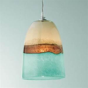 Strata art glass pendant light earth sea and clouds seem