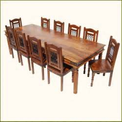11 dining room set rustic 11 pc large solid wood dining table chairs set for 10 traditional dining sets