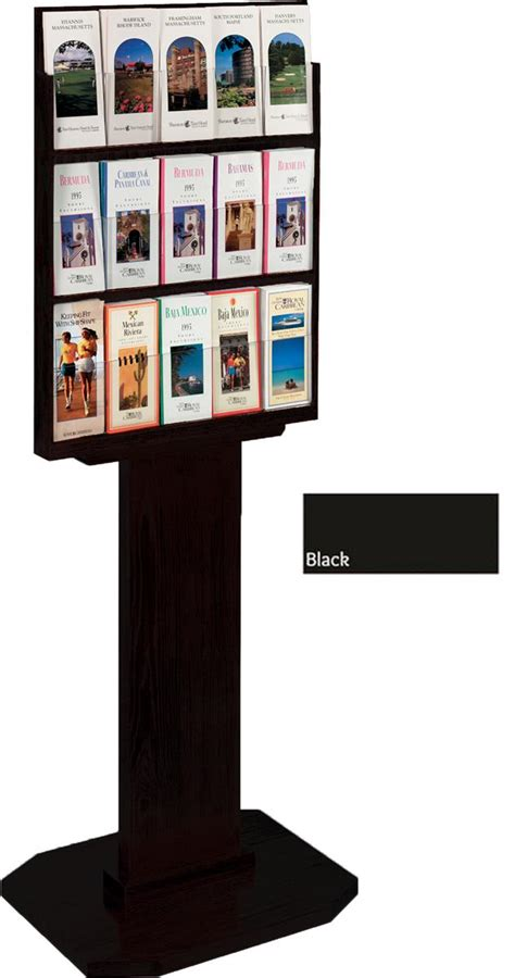 three tier floor l 3 tier black brochure stands 15 pockets