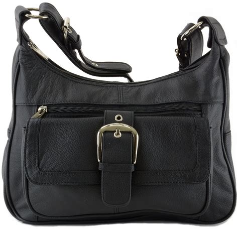 Women's Leather Organizer Purse Multi Pocket Handbag