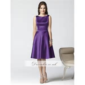 Purple Satin Short Bridesmaid Dresses