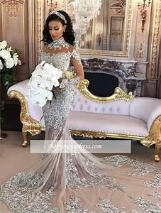 silver long sleeve mermaid lace high neck luxury wedding With luxury wedding dresses