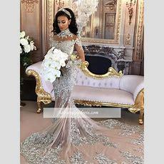 Silver Longsleeve Mermaid Lace Highneck Luxury Wedding
