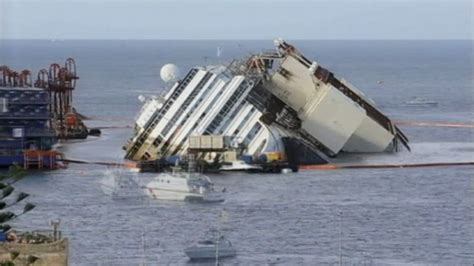 Wrecked Cruise Ship Costa Concordia Raised Off Italian Rocks - Yahoo News